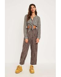 Urban Outfitters - Uo Brown Check High Waist Pleated Trousers - Womens L - Lyst