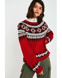 Lyst Urban Outfitters Uo Henry Fairisle Jumper In Red