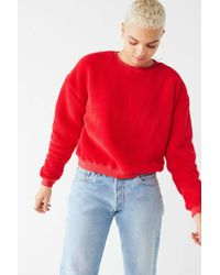 Urban Outfitters - Uo Fuzzy Crew-neck Sweatshirt - Lyst