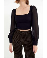 771c405c32a93 Urban Outfitters - Uo Lena Sheer Sleeve Square Neck Blouse - Lyst