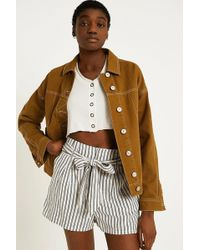 Urban Outfitters - Uo Striped Paperbag Waist Shorts - Lyst