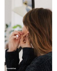 Urban Outfitters - 18k Gold-plated Geometric Hoop Earring - Lyst