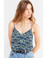 Silence + Noise - Sky Satin Plunging Cami - Lyst