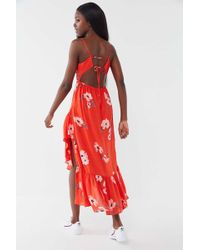 ab01aa85f545 Urban Outfitters - Uo Fireworks Floral Tie-back Ruffle Midi Dress - Lyst