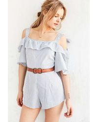 Shakuhachi - Bow Stripe Cold Shoulder Romper - Lyst