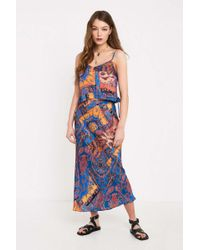bd3190936ee6 Urban Outfitters - Uo Scarf Print Satin Bias-cut Midi Skirt - Lyst