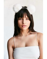 Urban Outfitters - Pompom Ear Headband - Lyst