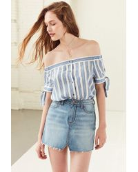 BDG | Tie-sleeve Off-the-shoulder Button-down Top | Lyst