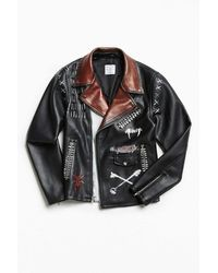 Urban Outfitters - Custom Hand Painted Faux Leather Jacket - Lyst
