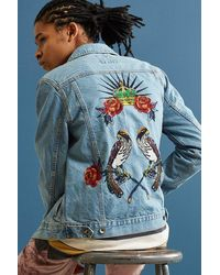 BDG - Embroidered Denim Trucker Jacket - Lyst