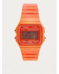 G-Shock - F91w-1 Digital Orange Watch - Lyst