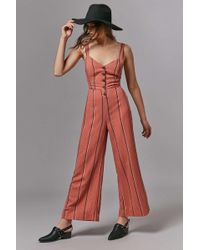 c3b9b32ac9d3 Urban Outfitters - Uo Ashley Button-down Tie-back Jumpsuit - Lyst