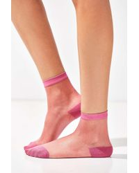 Out From Under - Pink Monofilament Crew Socks - Lyst