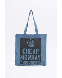 Cheap Monday - Squared Blue Denim Tote Bag - Lyst