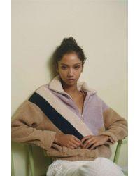Urban Outfitters - Uo Colorblock Teddy Half-zip Pullover Sweatshirt - Lyst