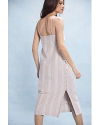 Urban Outfitters - Uo Sicily Linen Side-button Midi Slip Dress - Lyst