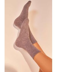 Urban Outfitters - Out From Under Cosy Flat Knit Crew Socks - Womens All - Lyst