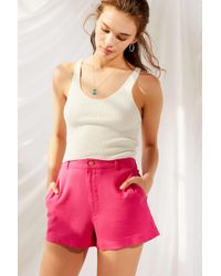 Urban Renewal - Remnants High-rise Pink Linen Short - Lyst