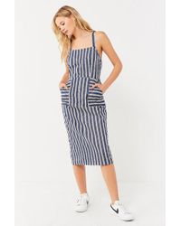 Urban Outfitters - Uo Striped Apron Midi Dress - Lyst