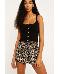 Urban Outfitters - Uo Daisy Print Black Shirred Beach Shorts - Lyst