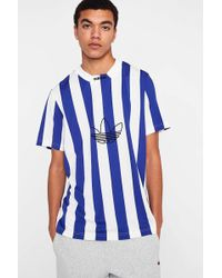 adidas - White + Blue Vertical Stripe Soccer Shirt - Lyst