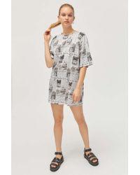 ba64d55721e1 Motel Metis Tie Neck Shirt Dress In Leopard Print - Lyst