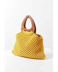 Urban Outfitters - Large Wood Handle Macrame Tote Bag - Lyst