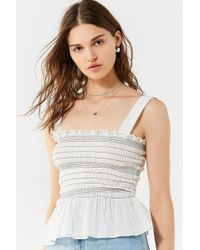 Urban Outfitters - Uo Smocked Square-neck Cami - Lyst