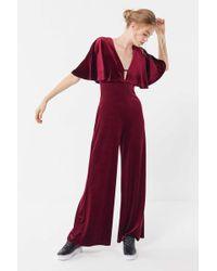 Urban Outfitters - Uo Velvet Flutter Sleeve Jumpsuit - Lyst