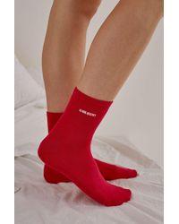 Urban Outfitters - Uo U Ok Hun? Embroidered Socks - Lyst