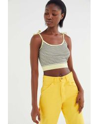 Truly Madly Deeply Striped Tie-shoulder Cropped Cami