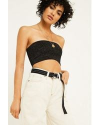Urban Outfitters - Uo Back Then Cindy Glitter Bandeau Bra - Lyst