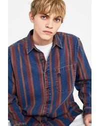 Urban Outfitters - Uo Striped Denim Shirt - Lyst
