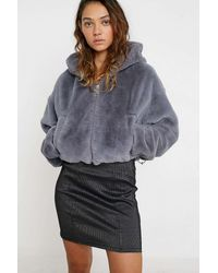 Urban Outfitters Uo Hooded Faux Fur Crop Jacket - Multicolour