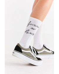Out From Under - Jacquard Text Ribbed Crew Sock - Lyst