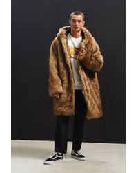 Urban Outfitters | Uo Hooded Long Faux Fur Coat | Lyst