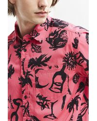 Urban Outfitters - Uo Magenta Margies Short Sleeve Button-down Shirt - Lyst