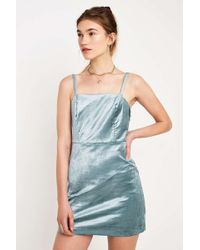 3c1b221867 Urban Outfitters - Uo Velveteen Blue Strapless Mini Dress - Womens Xs - Lyst