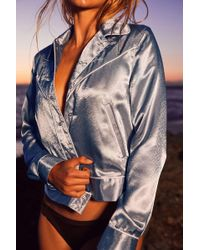 Urban Outfitters - Uo Embroidered Satin Gas Jacket - Lyst