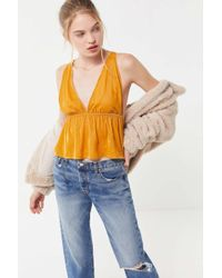 Urban Outfitters - Uo Lissy Velvet Plunging Babydoll Cami - Lyst