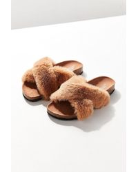 Urban Outfitters - Crossed Faux Fur Slide - Lyst