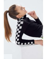 Urban Outfitters Uo Checkered Half-zip Cropped Sweater