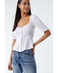 Urban Outfitters - Uo Penrose Linen Button-front Peplum Top - Lyst
