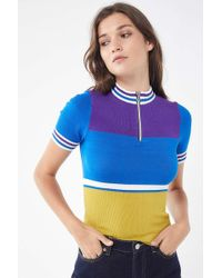 981acfeaa3 Urban Outfitters - Uo Hazel Half-zip Short Sleeve Sweater - Lyst