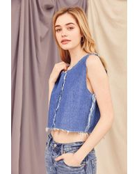 Urban Outfitters | Recycled Frayed Denim Cropped Top | Lyst
