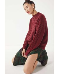 Urban Outfitters - Uo Austin Mock-neck Cable Knit Sweater - Lyst