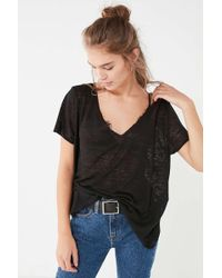 Project Social T - Textured-knit V-neck Tee - Lyst