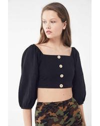 5bc56c1612 Lyst - Urban Outfitters Uo Blossom Peplum Cropped Top in Black