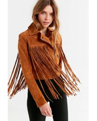 Urban Outfitters - Uo Suede Moto Fringe Jacket - Lyst