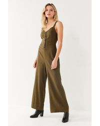 Urban Outfitters - Uo Ashley Button-down Tie-back Jumpsuit - Lyst